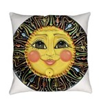 PLATE-SunFace-Black-rev Everyday Pillow