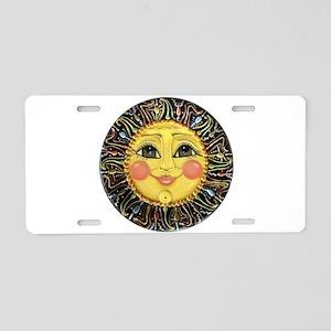 PLATE-SunFace-Black-rev Aluminum License Plate