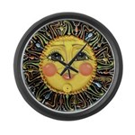 PLATE-SunFace-Black-rev Large Wall Clock