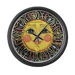 PLATE-SunFace-Black-rev Large Wall Clock