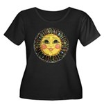 PLATE-SunFace-Black-rev Women's Plus Size Scoop Ne