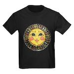 PLATE-SunFace-Black-rev Kids Dark T-Shirt