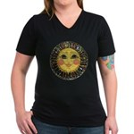 PLATE-SunFace-Black-rev Women's V-Neck Dark T-Shir