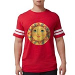 PLATE-Sun-Red-goldballs-rev Mens Football Shirt