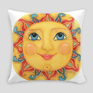PLATE-Sun-Red-goldballs-rev Everyday Pillow