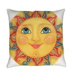 PLATE-Sun-Red-goldballs-rev Everyday Pillow
