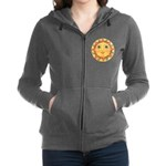 PLATE-Sun-Red-goldballs-rev Women's Zip Hoodie