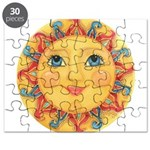 PLATE-Sun-Red-goldballs-rev Puzzle