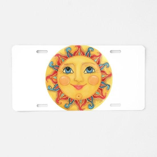 PLATE-Sun-Red-goldballs-rev Aluminum License Plate