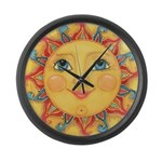 PLATE-Sun-Red-goldballs-rev Large Wall Clock