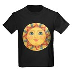 PLATE-Sun-Red-goldballs-rev Kids Dark T-Shirt