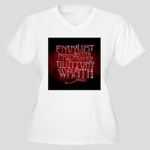 Seven Sins Women's Plus Size V-Neck T-Shirt