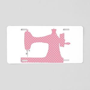Polka Dot Sewing Machine Aluminum License Plate