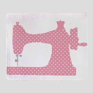 Polka Dot Sewing Machine Throw Blanket