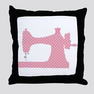 Polka Dot Sewing Machine Throw Pillow
