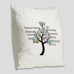 Colorful Life Tree Burlap Throw Pillow