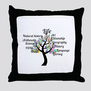 Colorful Life Tree Throw Pillow