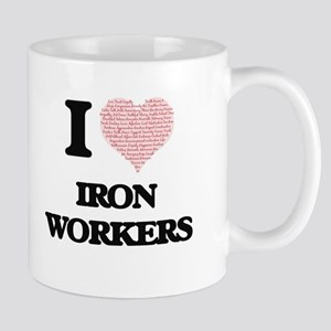 I love Iron Workers (Heart made from words) Mugs