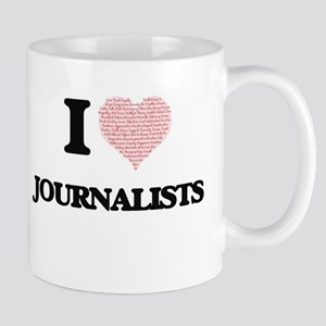 I love Journalists (Heart made from words) Mugs