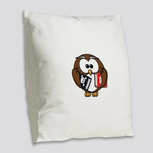 Studious Owl Burlap Throw Pillow