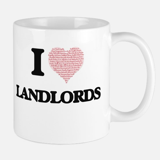 I love Landlords (Heart made from words) Mugs