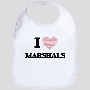 I love Marshals (Heart made from words) Bib