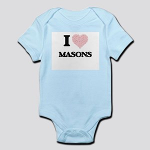 I love Masons (Heart made from words) Body Suit
