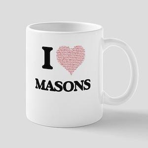 I love Masons (Heart made from words) Mugs