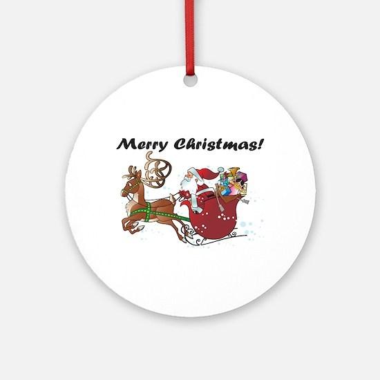 Merry Christmas Santa Ornament (Round)
