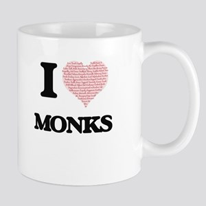I love Monks (Heart made from words) Mugs