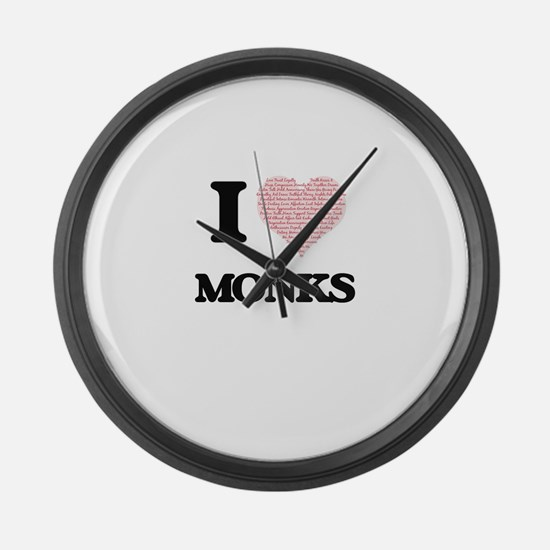I love Monks (Heart made from wor Large Wall Clock