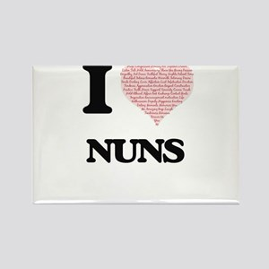 I love Nuns (Heart made from words) Magnets