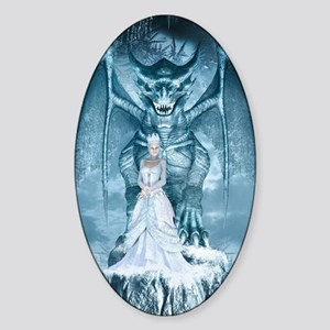 Ice Queen and Dragon Sticker (Oval)