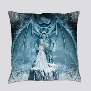 Ice Queen and Dragon Everyday Pillow