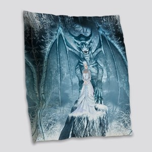 Ice Queen and Dragon Burlap Throw Pillow