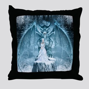 Ice Queen and Dragon Throw Pillow
