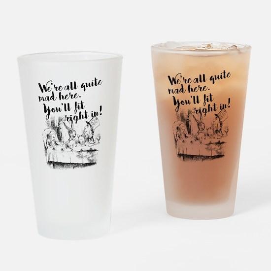 Funny Alice in wonderland rabbit Drinking Glass