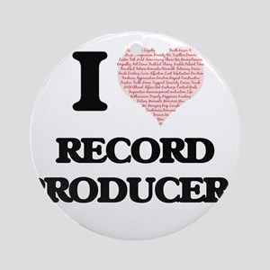 I love Record Producers (Heart made Round Ornament