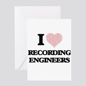 I love Recording Engineers (Heart m Greeting Cards