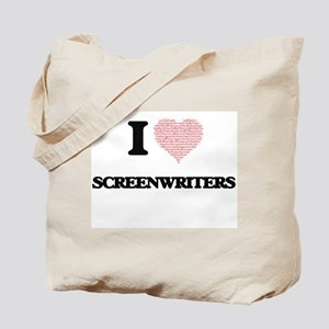 I love Screenwriters (Heart made from wor Tote Bag