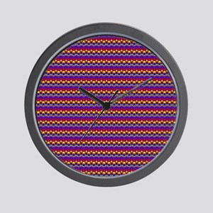 Red Blue Purple Yellow Up Down Rows Wall Clock