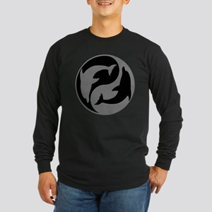 Grey And Black Yin Yang Dolphins Long Sleeve T-Shi