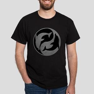 Grey And Black Yin Yang Dolphins T-Shirt