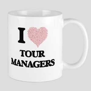 I love Tour Managers (Heart made from words) Mugs
