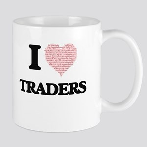 I love Traders (Heart made from words) Mugs