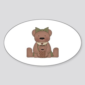 Teddy Bear With Teddy Oval Sticker
