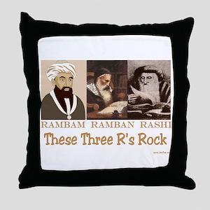 Three Rabbis Rock Throw Pillow