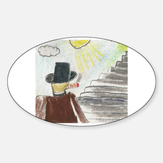 Funny Tophat Sticker (Oval)
