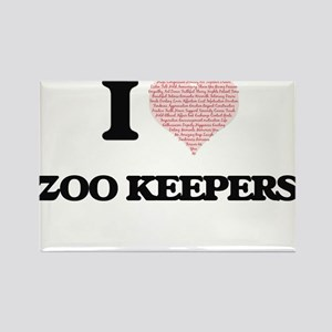 I love Zoo Keepers (Heart made from words) Magnets