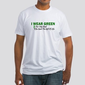 Green For Dad Organ Donor Donation Fitted T-Shirt